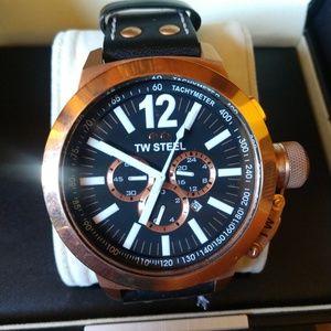 TW Steel Men's Diving Watch w/Black Leather Strap
